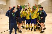 4 December 2018; St. Louis Community School, Kiltimagh, Mayo players lifting the cup after the Post-Primary Schools National Futsal Finals at Waterford IT Sports Arena in Waterford. Photo by Eóin Noonan/Sportsfile