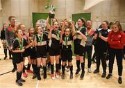 4 December 2018; St. Attracta's Community School, Tubbercurry, Sligo captain Jessica Casey lifting the cup after the Post-Primary Schools National Futsal Final at Waterford IT Sports Arena in Waterford. Photo by Eóin Noonan/Sportsfile