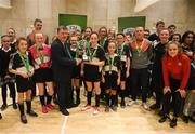 4 December 2018; St. Attracta's Community School, Tubbercurry, Sligo captain Jessica Casey being presented with the cup by FAI President Donal Conway after the Post-Primary Schools National Futsal Final at Waterford IT Sports Arena in Waterford. Photo by Eóin Noonan/Sportsfile
