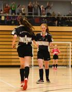 4 December 2018; Ciara Brennan of St. Attracta's Community School, Tubbercurry, Sligo celebrates with team-mate Jessica Casey after she scored their side's second goal during the Post-Primary Schools National Futsal Finals match between St. Attracta's Community School, Tubbercurry, Sligo and Coláiste Chiaráin, Leixlip, Kildare at Waterford IT Sports Arena in Waterford. Photo by Eóin Noonan/Sportsfile