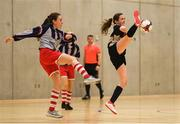 4 December 2018; Jessica Casey of St. Attracta's Community School, Tubbercurry, Sligo in action against Ríon Nallen of Coláiste Chiaráin, Leixlip, Kildare during the Post-Primary Schools National Futsal Finals match between St. Attracta's Community School, Tubbercurry, Sligo and Coláiste Chiaráin, Leixlip, Kildare at Waterford IT Sports Arena in Waterford. Photo by Eóin Noonan/Sportsfile