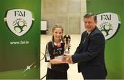 4 December 2018; Pixie O'Hara of St. Attracta's Community School, Tubbercurry, Sligo, is presented with the player of the tournament award by FAI president Donal Conway after the Post-Primary Schools National Futsal Finals at Waterford IT Sports Arena in Waterford. Photo by Eóin Noonan/Sportsfile
