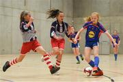 4 December 2018; Grace Fitzpatrick Ryan of Ursuline secondary school, Thurles, Tipperary in action against Rion Nallen of Coláiste Chiaráin, Leixlip, Kildare during the Post-Primary Schools National Futsal Finals match between Ursuline secondary school, Thurles, Tipperary and Coláiste Chiaráin, Leixlip, Kildare at Waterford IT Sports Arena in Waterford. Photo by Eóin Noonan/Sportsfile