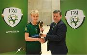 4 December 2018; Odhran Ferris of Mercy Secondary School, Tralee, Kerry, is presented with the player of the tournament award by FAI president Donal Conway after the Post-Primary Schools National Futsal Finals at Waterford IT Sports Arena in Waterford. Photo by Eóin Noonan/Sportsfile