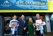5 December 2018; Uachtarán Chumann Lúthchleas Gael John Horan and Edel McCarthy, Group Sponsorship & Activation Manager, with Barry Dan O'Sullivan, left, of UCD with the Sigerson Cup and Ronan Lynch of University of Limerick with the Fitzgibbon Cup at the Electric Ireland Higher Education GAA Championships Launch and Draw at Croke Park in Dublin. Photo by David Fitzgerald/Sportsfile