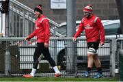 6 December 2018; Will Addison, left, and Sean Reidy arriving for the Ulster Rugby Captain's Run at the Kingspan Stadium in Belfast. Photo by Oliver McVeigh/Sportsfile