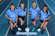"6 December 2018; Dublin players, from left, Jake Malone, Lauren Magee, Jonny Cooper and Ali Twomey were at the National Sports Campus today to launch AIG's ""try before you buy"" SmartLane driving app, which gives good drivers up to 20% off their car insurance. Simply download the AIG SmartLane app to take part in the SmartLane driving challenge and you could win some great prizes including Dublin GAA jerseys and One4all vouchers. Go to www.aig.ie/smartlane  to find out more or visit the Android or iOS App store. Photo by Brendan Moran/Sportsfile"