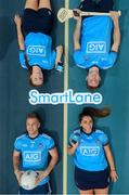 "6 December 2018; Dublin players, clockwise from bottom left, Jonny Cooper, Lauren Magee, Jake Malone, and Ali Twomey were at the National Sports Campus today to launch AIG's ""try before you buy"" SmartLane driving app, which gives good drivers up to 20% off their car insurance. Simply download the AIG SmartLane app to take part in the SmartLane driving challenge and you could win some great prizes including Dublin GAA jerseys and One4all vouchers. Go to www.aig.ie/smartlane  to find out more or visit the Android or iOS App store. Photo by Brendan Moran/Sportsfile"