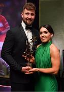 1 December 2018; Sarah Houlihan of Kerry with Padraig Hallissey and her All Star award during the TG4 Ladies Football All Stars Awards 2018, in association with Lidl, at the Citywest Hotel in Dublin. Photo by Brendan Moran/Sportsfile