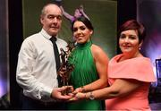 1 December 2018; Sarah Houlihan of Kerry with her parents Jerry and Doreen and her All Star award during the TG4 Ladies Football All Stars Awards 2018, in association with Lidl, at the Citywest Hotel in Dublin. Photo by Brendan Moran/Sportsfile
