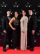 1 December 2018; Donegal players Geraldine McLaughlin and Nicole McLaughlin, with Shane Callaghan, left, and Paul McDaid in attendance at the TG4 Ladies Football All Stars Awards 2018, in association with Lidl, at the Citywest Hotel in Dublin. Photo by Brendan Moran/Sportsfile