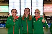 7 December 2018; Michelle Finn, left, Kerry O'Flaherty, centre, and Ann Marie McGlynn of Ireland pictured at Dublin Airport prior to departing for the European Cross Country in Beekse Bergen Safari Park in Tilburg, Netherlands. Photo by Sam Barnes/Sportsfile