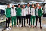 7 December 2018; Team Ireland athletes, from left, Brian Fay, Kevn Maunsell, Garry Campbell, Sean Tobin, Paul Robinson, Daire Finn, Kevin Batt, pictured at Dublin Airport prior to departing for the European Cross Country in Beekse Bergen Safari Park in Tilburg, Netherlands. Photo by Sam Barnes/Sportsfile