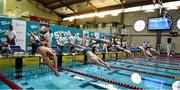 7 December 2018; A general view of the start of the Men's 400m individual medley event during the Friday of the Irish Short Course Swimming Championships at Lagan Valley Leisureplex in Antrim. Photo by Oliver McVeigh/Sportsfile