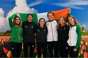 7 December 2018; Ireland U20 Women's Team, from left, Stephanie Cotter, Sophie O'Sullivan, Sarah Healy, Emma O'Brien, Jodie McCann and Laura Nicholson pictured at Eindhoven Airport en route to the European Cross Country in Beekse Bergen Safari Park in Tilburg, Netherlands. Photo by Sam Barnes/Sportsfile
