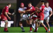 7 December 2018; James Davies, left, and Kieron Fonotia of Scarlets in action against Eric O'Sullivan of Ulster during the European Rugby Champions Cup Pool 4 Round 3 match between Scarlets and Ulster at Parc Y Scarlets in Llanelli, Wales. Photo by Ramsey Cardy/Sportsfile