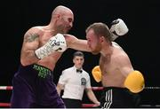 7 December 2018; Gary 'Spike' O'Sullivan, left, and Gabor Gorbics during their middleweight contest at The Royal Theatre in Castlebar, Mayo. Photo by Stephen McCarthy/Sportsfile