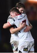 7 December 2018; Iain Henderson, left, and Jordi Murphy of Ulster celebrate at the final whistle of the European Rugby Champions Cup Pool 4 Round 3 match between Scarlets and Ulster at Parc Y Scarlets in Llanelli, Wales. Photo by Ramsey Cardy/Sportsfile