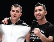 7 December 2018; Craig O'Brien and trainer Packie Collins following his super welterweight contest with Almin Kovacevic at The Royal Theatre in Castlebar, Mayo. Photo by Stephen McCarthy/Sportsfile