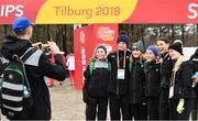 8 December 2018; The Ireland U20 Women's Team, from left, Jodie McCann, Emma O'Brien, Stephanie Cotter, Sarah Healy, Sophie O'Sullivan and Laura Nicholson, pose for a photograph   during the European Cross Country Previews at Beekse Bergen Safari Park in Tilburg, Netherlands. Photo by Sam Barnes/Sportsfile
