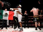7 December 2018; Christian Uruzquieta celebrates after being declared victorious over Ray Moylette following their vacant World Boxing Council International Silver Lightweight Title bout at The Royal Theatre in Castlebar, Mayo. Photo by Stephen McCarthy/Sportsfile