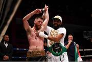 7 December 2018; Ray Moylette, left, and Christian Uruzquieta following their vacant World Boxing Council International Silver Lightweight Title bout at The Royal Theatre in Castlebar, Mayo. Photo by Stephen McCarthy/Sportsfile