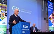 8 December 2018; Kilkenny manager Brian Cody speaking during the National GAA Club Forum at Croke Park in Dublin. Photo by Brendan Moran/Sportsfile