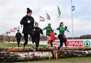8 December 2018; Ireland Women's U20 athletes, from left, Emma O'Brien, Sarah Healy, Sophie O'Sullivan and Jodie McCann during the European Cross Country Previews at Beekse Bergen Safari Park in Tilburg, Netherlands. Photo by Sam Barnes/Sportsfile