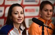 8 December 2018; Jessica Piasecki of Great Britain speaking during the European Cross Country Press Conference at Beekse Bergen Safari Park in Tilburg, Netherlands. Photo by Sam Barnes/Sportsfile
