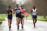 8 December 2018; Athletes from left, David Kenny of Farranfore Maine Valley A.C., Kerry, Brendan Boyce of Finn Valley A.C., Donegal, Cian McManamon of Westport A.C., Mayo, and Erick Bernabe Barrondo Garcia from Guatamala, competing in the men's 20k event during Irish Life Health National Race Walking Championships 2018 at St. Anne's Park in Dublin. Photo by Eóin Noonan/Sportsfile
