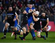 8 December 2018; James Ryan of Leinster is tackled by Will Chudley, left, and Charlie Ewels of Bath during the European Rugby Champions Cup Pool 1 Round 3 match between Bath and Leinster at the Recreation Ground in Bath, England. Photo by Ramsey Cardy/Sportsfile