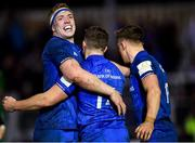 8 December 2018; Dan Leavy of Leinster congratulates teammate Jordan Larmour after he scored his side's second try during the European Rugby Champions Cup Pool 1 Round 3 match between Bath and Leinster at the Recreation Ground in Bath, England. Photo by Ramsey Cardy/Sportsfile