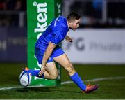 8 December 2018; Jordan Larmour of Leinster goes over to score his side's second try during the European Rugby Champions Cup Pool 1 Round 3 match between Bath and Leinster at the Recreation Ground in Bath, England. Photo by Ramsey Cardy/Sportsfile