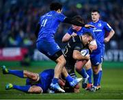 8 December 2018; Jamie Roberts of Bath is tackled by Leinster players, from left, Rhys Ruddock, James Lowe, and Tadhg Furlong during the European Rugby Champions Cup Pool 1 Round 3 match between Bath and Leinster at the Recreation Ground in Bath, England. Photo by Ramsey Cardy/Sportsfile