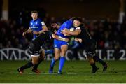 8 December 2018; Ross Byrne of Leinster is tackled by Jackson Willison, left, and Sam Underhill of Bath during the European Rugby Champions Cup Pool 1 Round 3 match between Bath and Leinster at the Recreation Ground in Bath, England. Photo by Ramsey Cardy/Sportsfile
