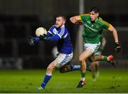 8 December 2018; Gary Walsh of Laois in action against Seamus Lavin of Meath during the O'Byrne Cup Round 1 match between Laois and Meath at O'Moore Park in Laois. Photo by Eóin Noonan/Sportsfile