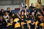 8 December 2018; Brid O'Sullivan of Mourneabbey lifts the Dolores Tyrrell Memorial Cup following the All-Ireland Ladies Football Senior Club Championship Final match between Mourneabbey and Foxrock-Cabinteely at Parnell Park in Dublin. Photo by Stephen McCarthy/Sportsfile