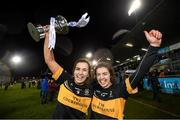 8 December 2018; Brid O'Sullivan, left, and Laura Fitzgerald of Mourneabbey with the Dolores Tyrrell Memorial Cup following the All-Ireland Ladies Football Senior Club Championship Final match between Mourneabbey and Foxrock-Cabinteely at Parnell Park in Dublin. Photo by Stephen McCarthy/Sportsfile