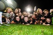 8 December 2018; Mourneabbey players celebrate with the Dolores Tyrrell Memorial Cup following the All-Ireland Ladies Football Senior Club Championship Final match between Mourneabbey and Foxrock-Cabinteely at Parnell Park in Dublin. Photo by Stephen McCarthy/Sportsfile