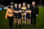 8 December 2018; Mourneabbey players and sisters, from left, Doireann, Róisín, Meabh and Ciara O'Sullivan celebrate with their parents Ina and Gerry with the Dolores Tyrrell Memorial Cup following the All-Ireland Ladies Football Senior Club Championship Final match between Mourneabbey and Foxrock-Cabinteely at Parnell Park in Dublin. Photo by Stephen McCarthy/Sportsfile