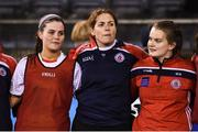 8 December 2018; Clontarf substitute Fiona Coghlan, centre prior to the All-Ireland Ladies Football Intermediate Club Championship Final match between Clontarf GAA, Dublin, and Emmet Óg, Monaghan, at Parnell Park in Dublin. Photo by Stephen McCarthy/Sportsfile