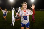 8 December 2018; Siobhán Killeen of Clontarf, who scored five goals, celebrates with the cup following the All-Ireland Ladies Football Intermediate Club Championship Final match between Clontarf GAA and Emmet Óg at Parnell Park in Dublin. Photo by Stephen McCarthy/Sportsfile