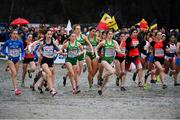 9 December 2018; Ireland team, from left, Sarah Healy, Emma O'Brien, Sophie O'Sullivan, and Stephanie Cotter, competing in the U20 Women's event during the European Cross Country Championships at Beekse Bergen Safari Park in Tilburg, Netherlands. Photo by Sam Barnes/Sportsfile