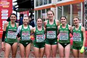 9 December 2018; Ireland U20 Women's Team, from left, Sophie O'Sullivan, Jodie McCann, Sarah Healy, Emma O'Brien, Stephanie Cotter, and Laura Nicholson, after competing in the U20 Women's event during the European Cross Country Championships at Beekse Bergen Safari Park in Tilburg, Netherlands. Photo by Sam Barnes/Sportsfile