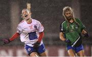 8 December 2018; Siobhán Killeen of Clontarf celebrates after scoring her side's third goal during the All-Ireland Ladies Football Intermediate Club Championship Final match between Clontarf GAA, Dublin, and Emmet Óg, Monaghan, at Parnell Park in Dublin. Photo by Stephen McCarthy/Sportsfile