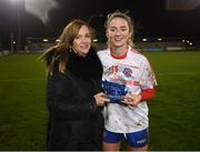 8 December 2018; Siobhán Killeen of Clontarf is presented with the player of the match award by LGFA CEO Helen O'Rourke following the All-Ireland Ladies Football Intermediate Club Championship Final match between Clontarf GAA, Dublin, and Emmet Óg, Monaghan, at Parnell Park in Dublin. Photo by Stephen McCarthy/Sportsfile