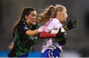 8 December 2018; Caoimhe O'Connor of Clontarf in action against Kerry Nolan of Emmet Óg during the All-Ireland Ladies Football Intermediate Club Championship Final match between Clontarf GAA, Dublin, and Emmet Óg, Monaghan, at Parnell Park in Dublin. Photo by Stephen McCarthy/Sportsfile