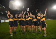 8 December 2018; Mourneabbey players who have won Junior, Intermediate and Senior All-Ireland titles, from left, Ciara Harrington, Róisín O'Sullivan, Rebecca Larkin, Ciara O'Sullivan, Eimear Harrington, Cathy Ann Stack, Sandra Conroy, Sile O'Callaghan and Kathryn Coakley following the All-Ireland Ladies Football Senior Club Championship Final match between Foxrock-Cabinteely, Dublin, and Mourneabbey, Cork, at Parnell Park in Dublin. Photo by Stephen McCarthy/Sportsfile