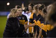 8 December 2018; President of LGFA Marie Hickey meets the players of Mourneabbey prior to the All-Ireland Ladies Football Senior Club Championship Final match between Foxrock-Cabinteely, Dublin, and Mourneabbey, Cork, at Parnell Park in Dublin. Photo by Stephen McCarthy/Sportsfile