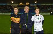 8 December 2018; Referee Brendan Rice with Mourneabbey captain Brid O'Sullivan and Foxrock-Cabinteely captain Amy Ring  prior to the All-Ireland Ladies Football Senior Club Championship Final match between Foxrock-Cabinteely, Dublin, and Mourneabbey, Cork, at Parnell Park in Dublin. Photo by Stephen McCarthy/Sportsfile